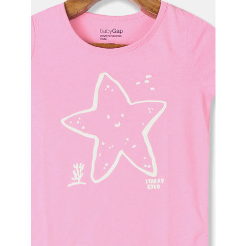 GAP Boys Pink- Coloured Graphic Print Round Neck T-shirt