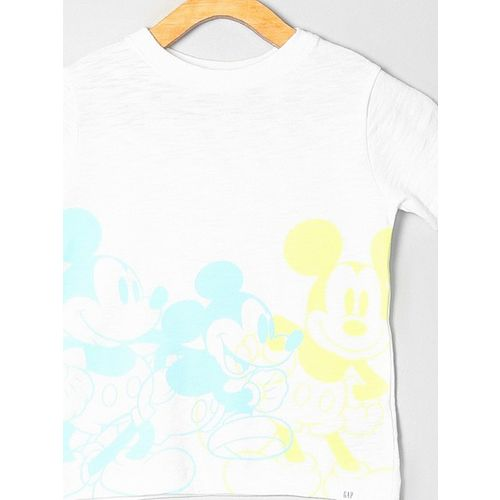 GAP Boys White Printed Round Neck T-shirt