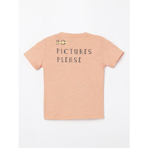 Juniors by Lifestyle Boys Orange Printed Round Neck T-shirt