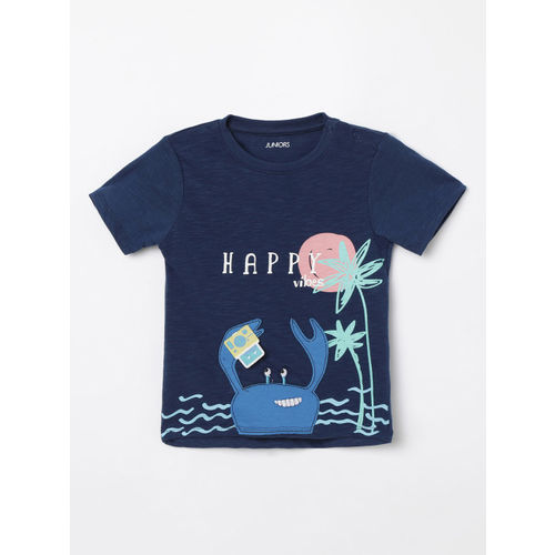 Juniors by Lifestyle Boys Navy Blue Printed Round Neck T-shirt