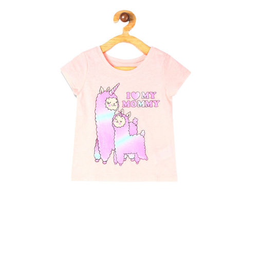 The Childrens Place Boys Peach-Coloured Llamacorn Printed Round Neck T-shirt