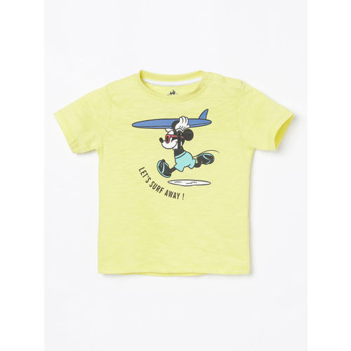 Juniors by Lifestyle Boys Yellow Mickey Mouse Printed Round Neck T-shirt