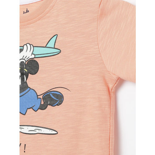 Juniors by Lifestyle Boys Orange Mickey Mouse Printed Round Neck T-shirt