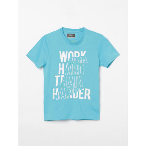 Kappa Boys Turquoise Blue & Off-White Printed Round Neck T-shirt