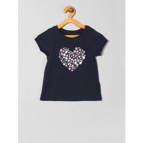 GAP Boys Navy Blue Floral Print Round Neck T-shirt