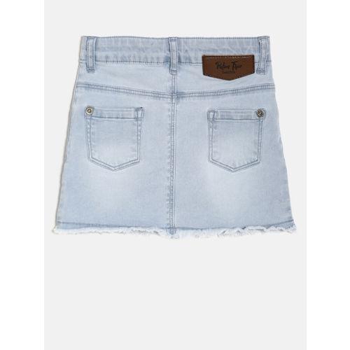 Palm Tree Girls Blue Washed Distressed Denim Straight Skirt