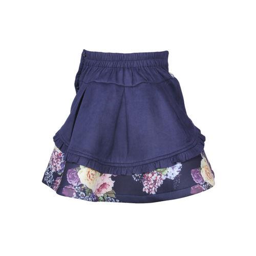 CUTECUMBER Girls Navy Blue Printed Flared Skirt