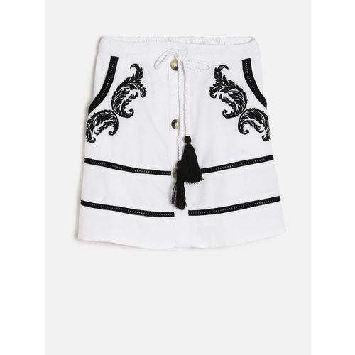 Fame Forever by Lifestyle Girls White & Black Embroidered A-Line Skirt