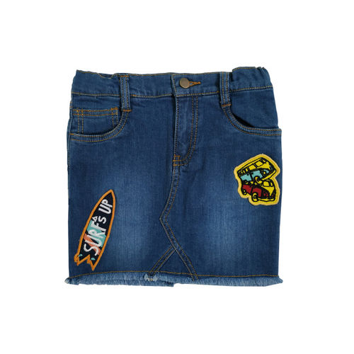 KiddoPanti Girls Blue Solid Straight Denim Skirt
