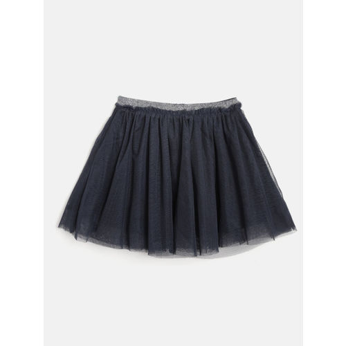 OVS Girls Navy-Blue & Silver Sequinned Layered Net Flared Skirt
