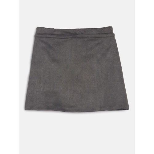 Peppermint Girls Grey Embroidered A-Line Skirt
