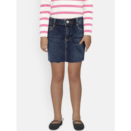 Mango Kids Girls Navy Blue Washed Denim Skorts
