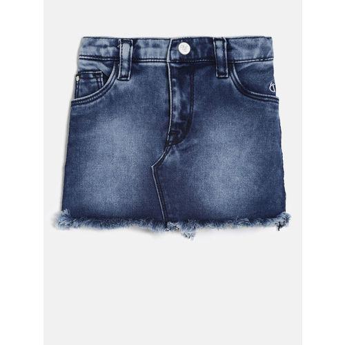 Gini and Jony Giny and Jony Girls Blue Solid Denim Skirt