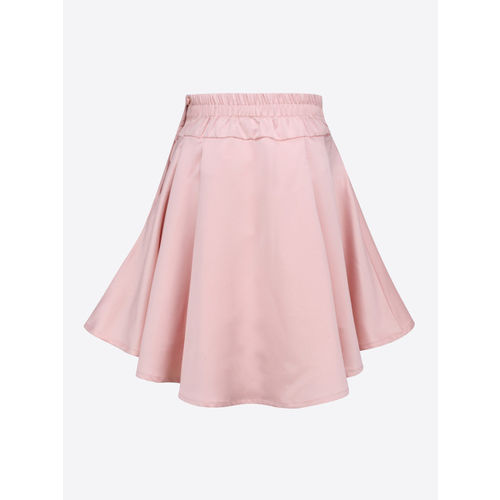 CUTECUMBER Girls Pink Embroidered High-Low Flared Skirt