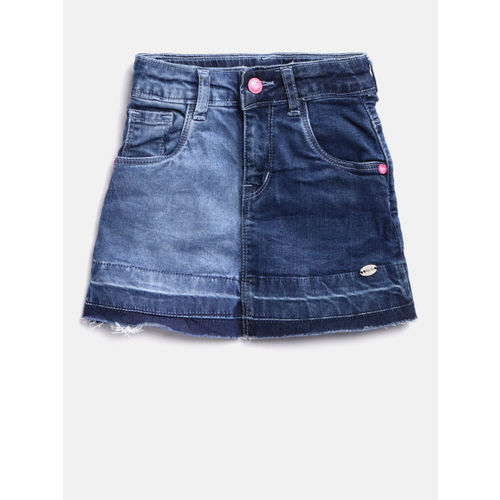 Palm Tree Girls Blue Washed A-Line Denim Skirt
