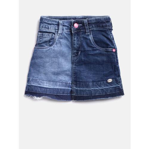 Palm Tree Girls Blue Washed A-Line Denim Skirt