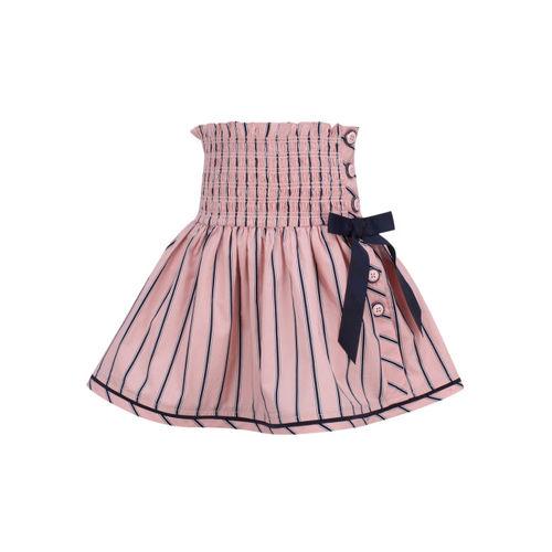 CUTECUMBER Girls Pink & Navy Blue Striped A-Line Skirt