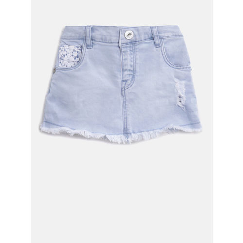 Palm Tree Girls Blue Washed Ripped Denim A-Line Skirt