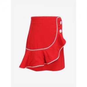 CUTECUMBER Girls Red Solid Wrap Skirt