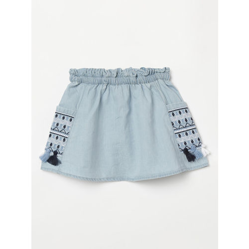 Juniors by Lifestyle Girls Blue Embroidered A-Line Skirt