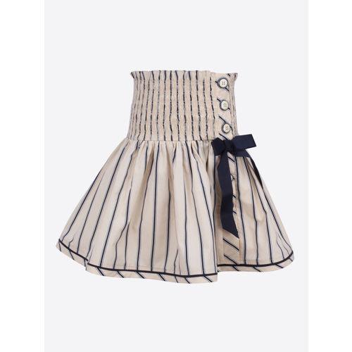CUTECUMBER Girls Cream-Coloured & Navy Blue Striped A-Line Skirt