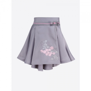 CUTECUMBER Girls Grey Embroidered High-Low Flared Skirt