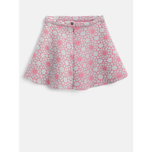 Gini and Jony Girls Grey Melange & Pink Self-Design A-Line Skirt