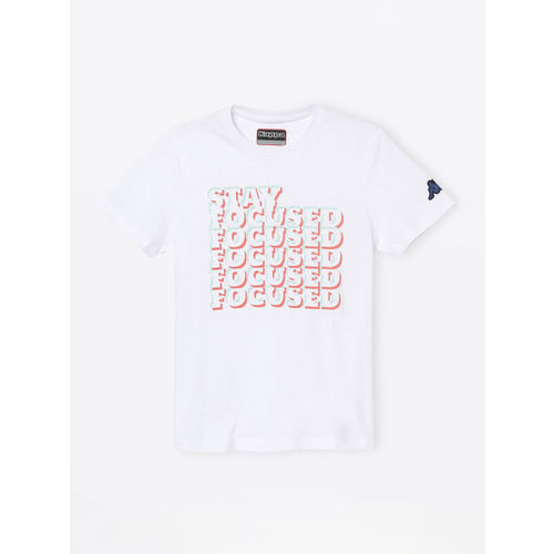 Kappa Boys White & Orange Printed Round Neck T-shirt
