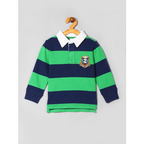 GAP Boys Green & Blue Striped Polo Collar T-shirt