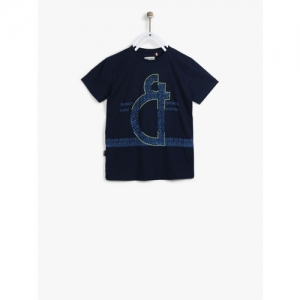 Gini and Jony Boys Navy Printed Round Neck T-shirt