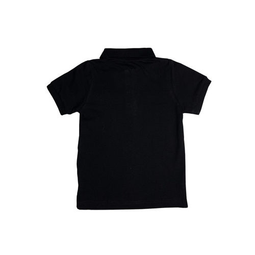 KiddoPanti Boys Black Solid Polo Collar T-shirt