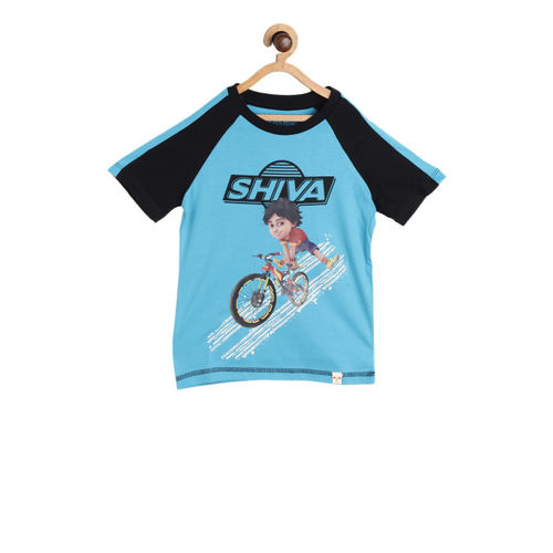 Shiva Boys Blue Printed Round Neck T-shirt