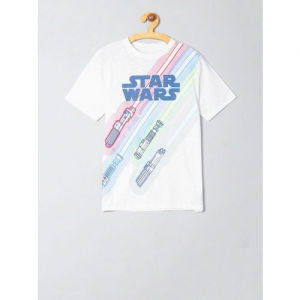 GAP Boys White & Blue Star Wars Printed Round Neck T-shirt