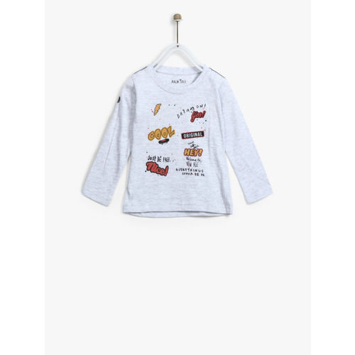 Palm Tree Boys Grey Melange T-Shirt