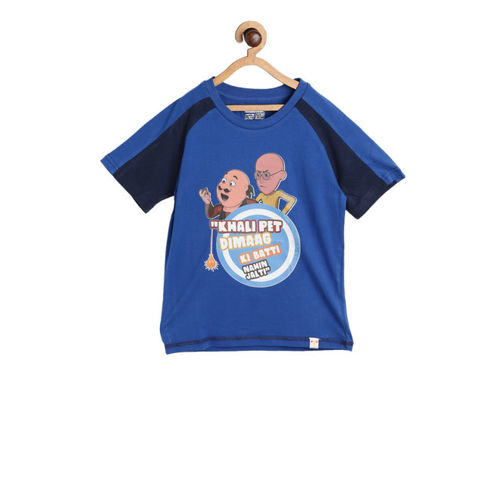 Motu Patlu Boys Blue Printed Round Neck T-shirt