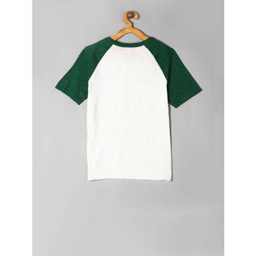GAP Boys White & Green Solid Round Neck T-shirt