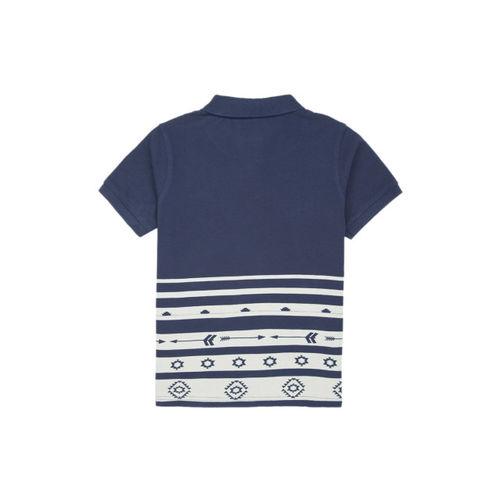 Flying Machine Boys Blue Striped Polo Collar T-shirt