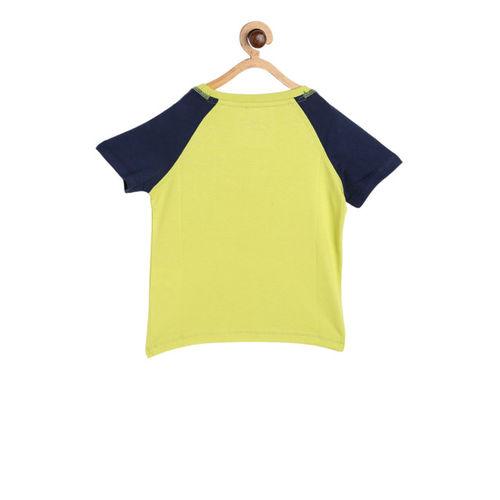 Hot Wheels Boys Lime Green & Navy Blue Printed Round Neck T-shirt