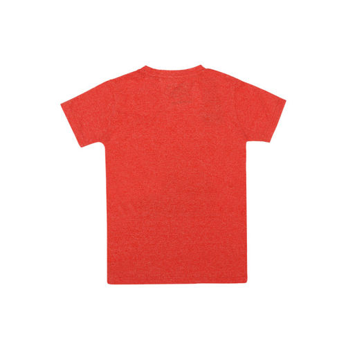 Lil Tomatoes Boys Orange Printed Round Neck T-shirt