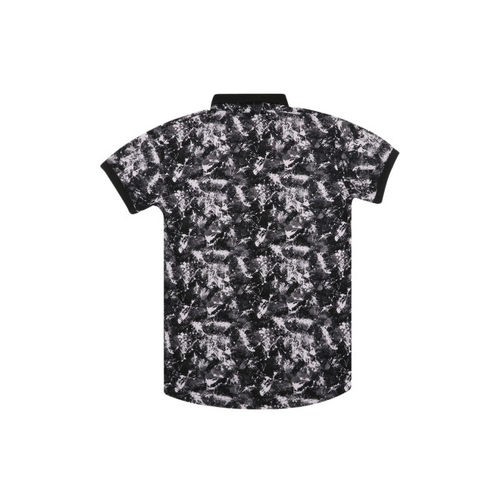 Lil Tomatoes Boys Black Printed Polo Collar T-shirt