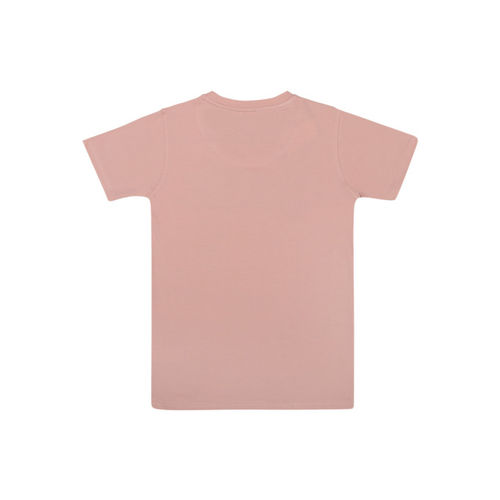 Lil Tomatoes Boys Peach-Coloured Printed Round Neck T-shirt