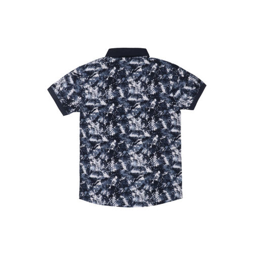 Lil Tomatoes Boys Navy Blue Printed Polo Collar T-shirt