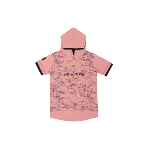 Lil Tomatoes Boys Peach-Coloured Printed Hooded T-shirt