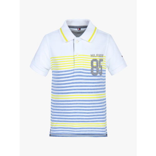 Tommy Hilfiger Boys White & Blue Striped Polo Collar T-shirt