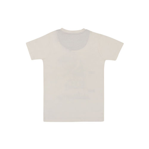 Lil Tomatoes Boys Cream-Coloured Printed Round Neck T-shirt