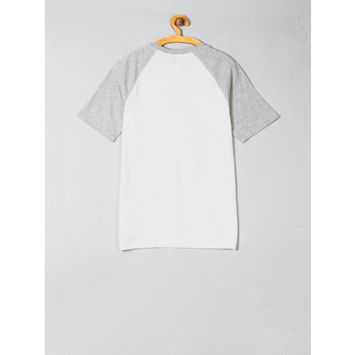 GAP Boys White & Grey Colourblocked Henley Neck T-shirt