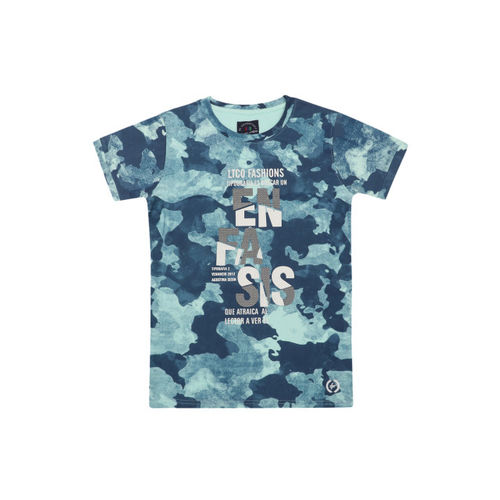 Lil Tomatoes Boys Sea Green Printed Round Neck T-shirt