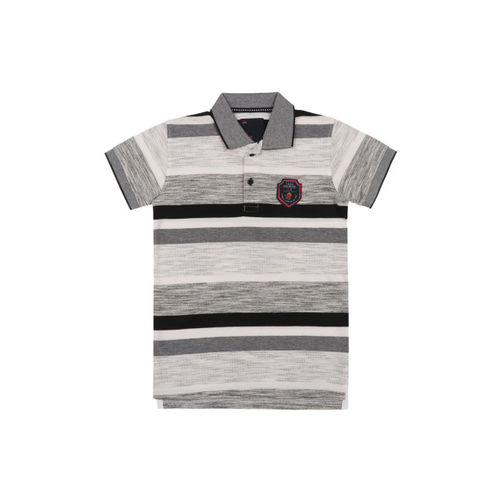 Lil Tomatoes Boys White Striped Polo Collar T-shirt