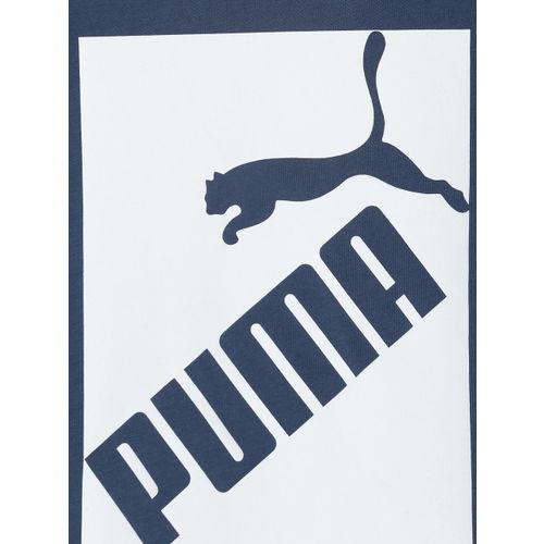 Puma Boys Blue & White Printed Round Neck T-shirt