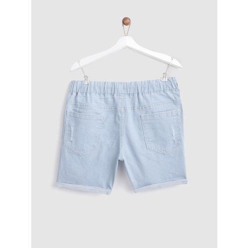 YK Girls Blue Distressed Regular Fit Denim Shorts